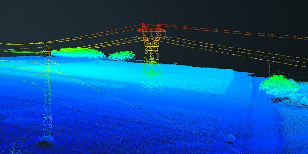 LIDAR output of power lines