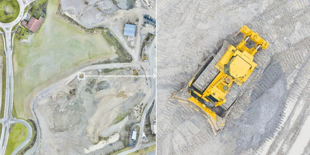 Drone map with detail zoom on dump truck