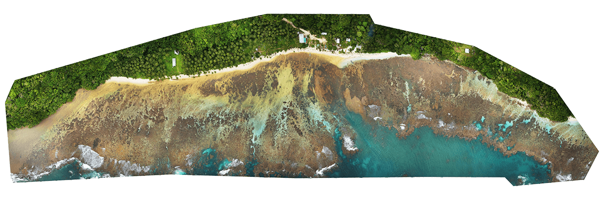 Drone aerial map of oil spill along Rennell Island