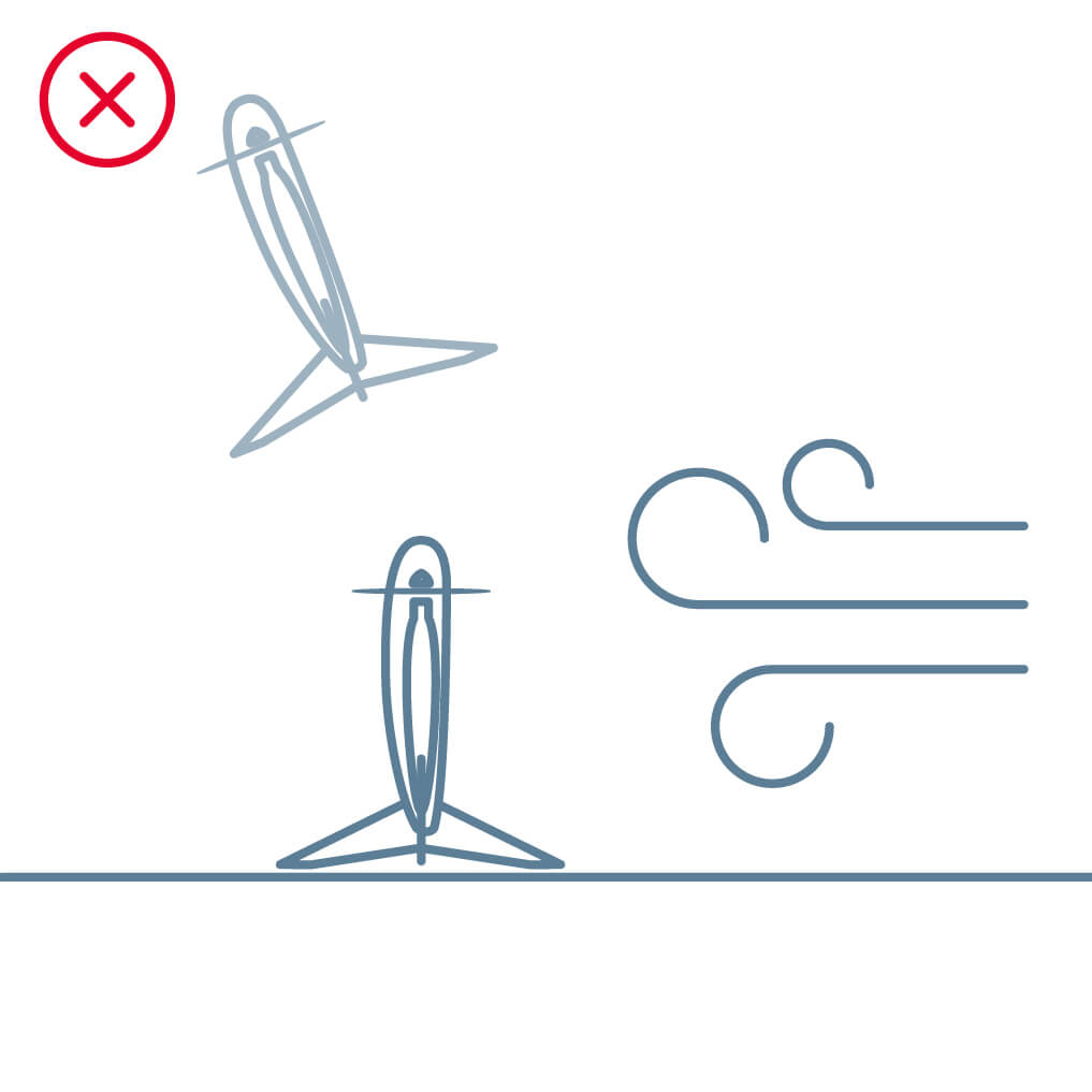 drone sitting perpendicular to wind illustration