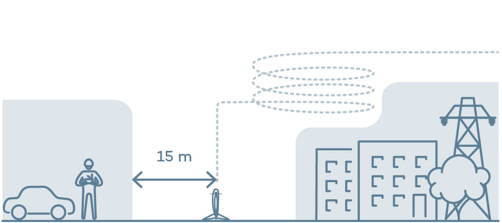 illustration VTOL wind clearance for take-off at higher wind levels