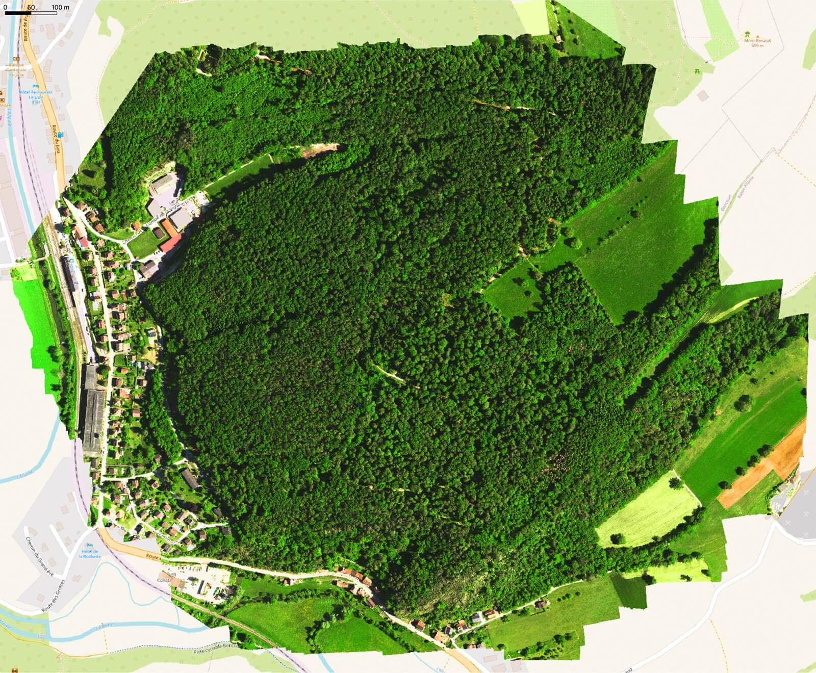 Multispectral drone output in the Jura mountains