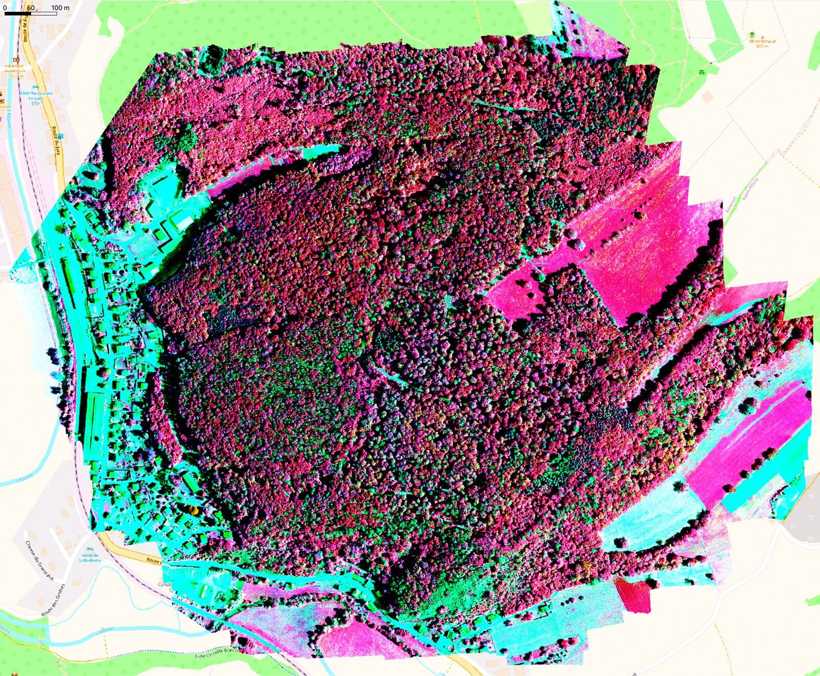 Multispectral infrared composite drone data output