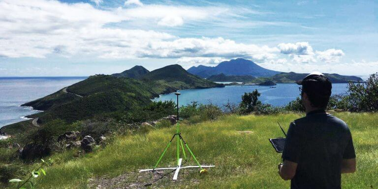 Surveyor mapping St. Kitts with WingtraOne