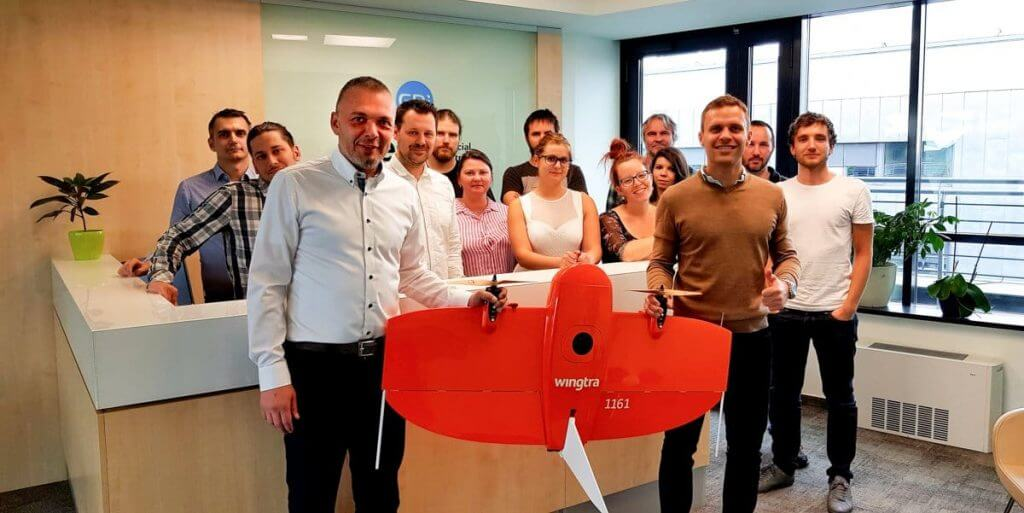 GDI Hungary employees posing with Wingtra