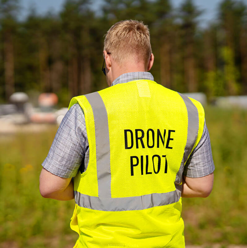 Drone pilot in the field