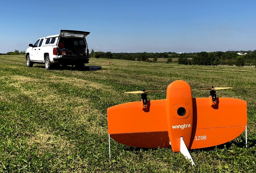 WingtraOne and a truck in the field