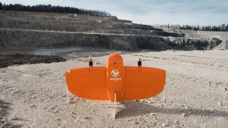 Professional PPK drone in a quarry