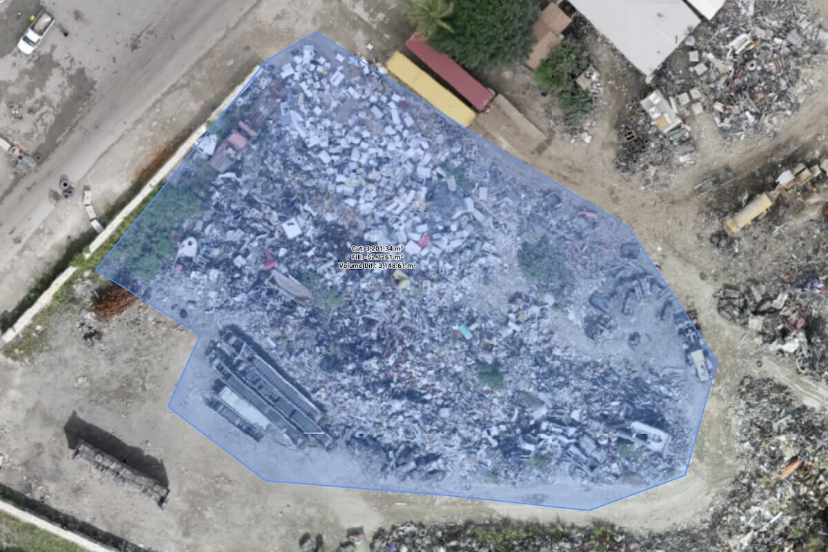 Volume measurement of a landfill in the Bahamas