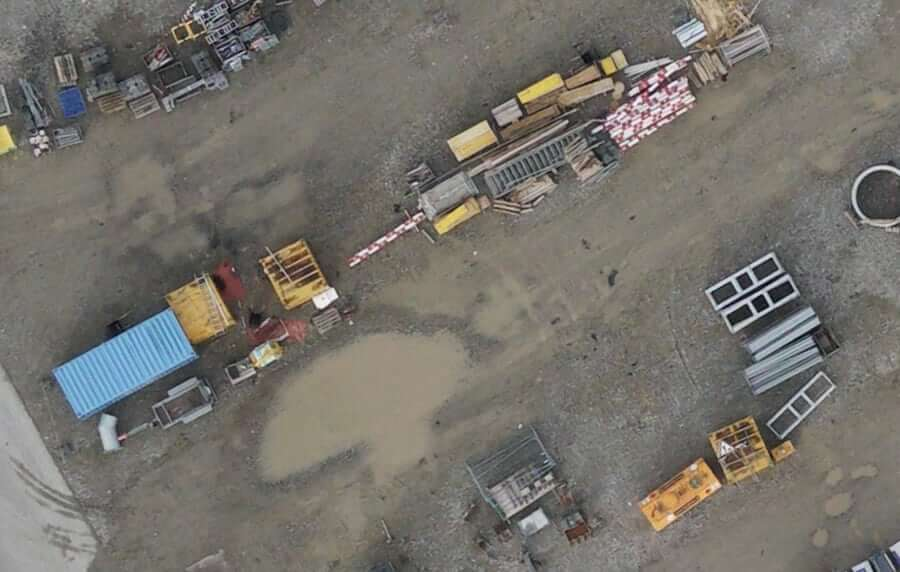Close-up of drone aerial image