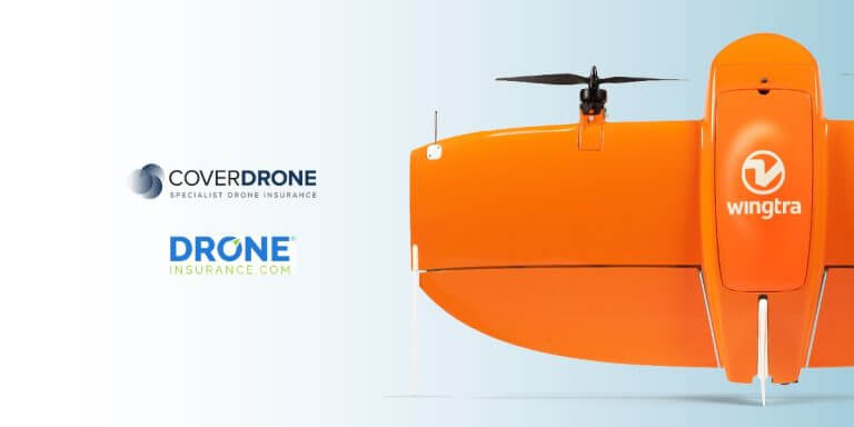WingtraOne with DroneInsurance.com and Coverdrone logos