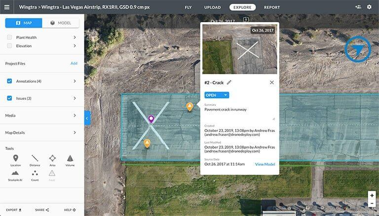 Analyze of cracks on airstrip with DroneDeploy
