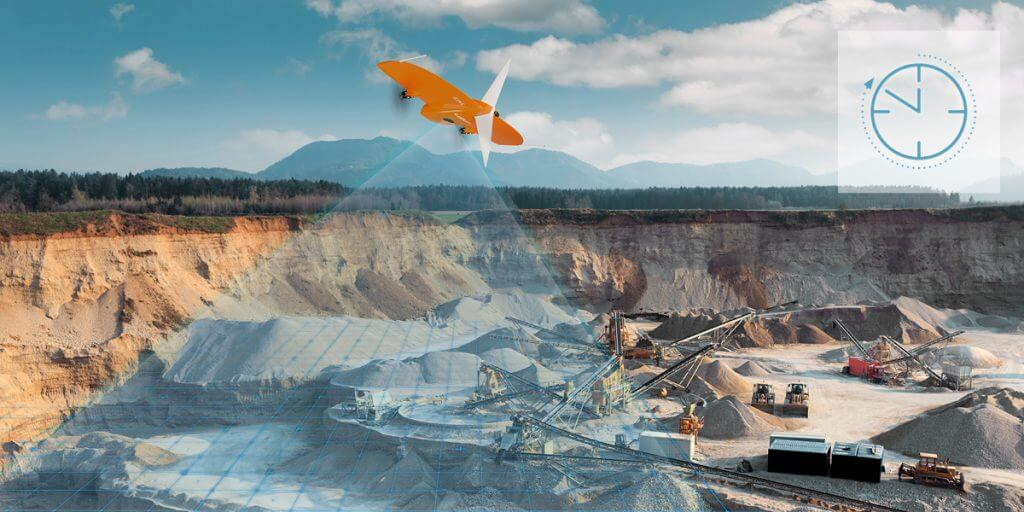 WingtraOne flying over a quarry with a time icon
