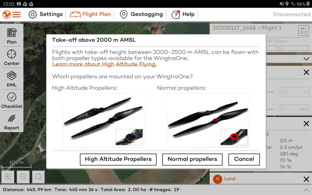 Screenshot of WingtraPilot with the high-altitude propellers/normal propellers