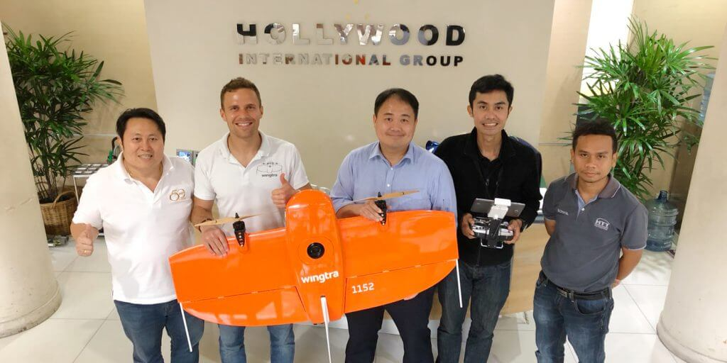 Wingtra sales manager and Hollywood team with VTOL drone