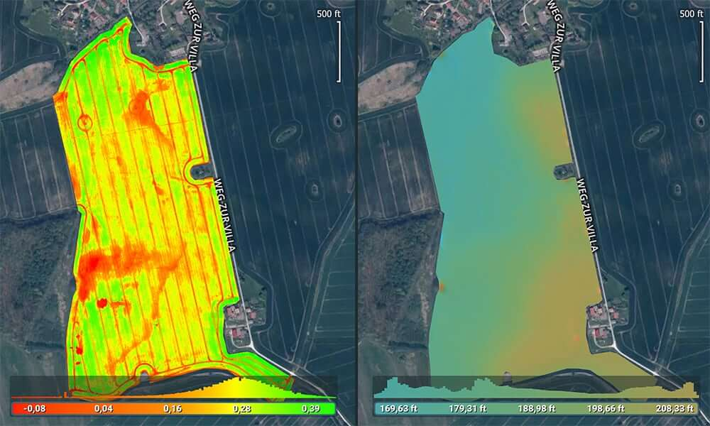 Topography of fields from multispectral or RGB imagery guides drainage and irrigation planning