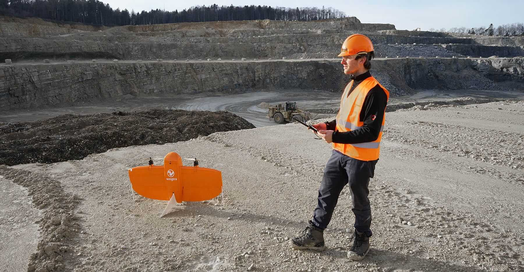 Professional mapping a mine with a drone