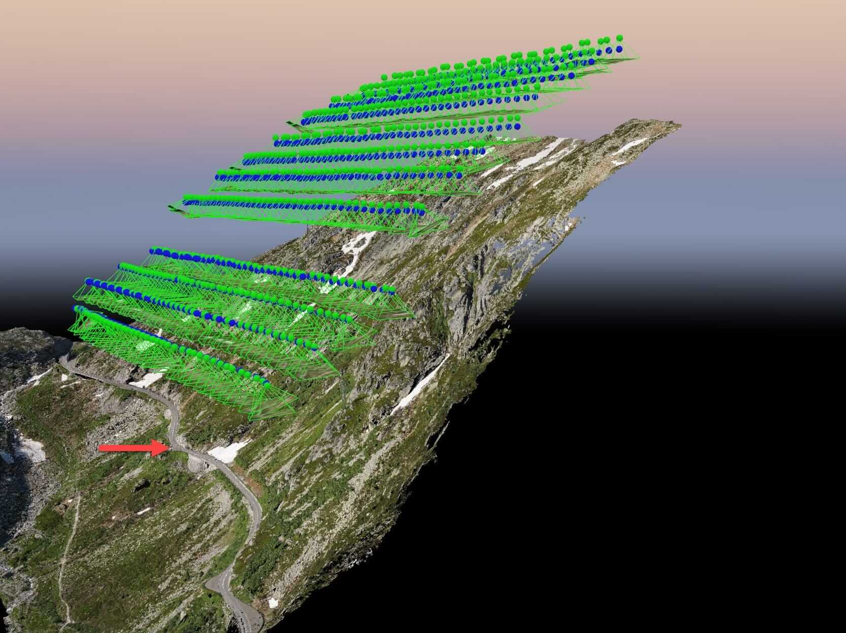 Swiss mountain drone mapping with terrain following