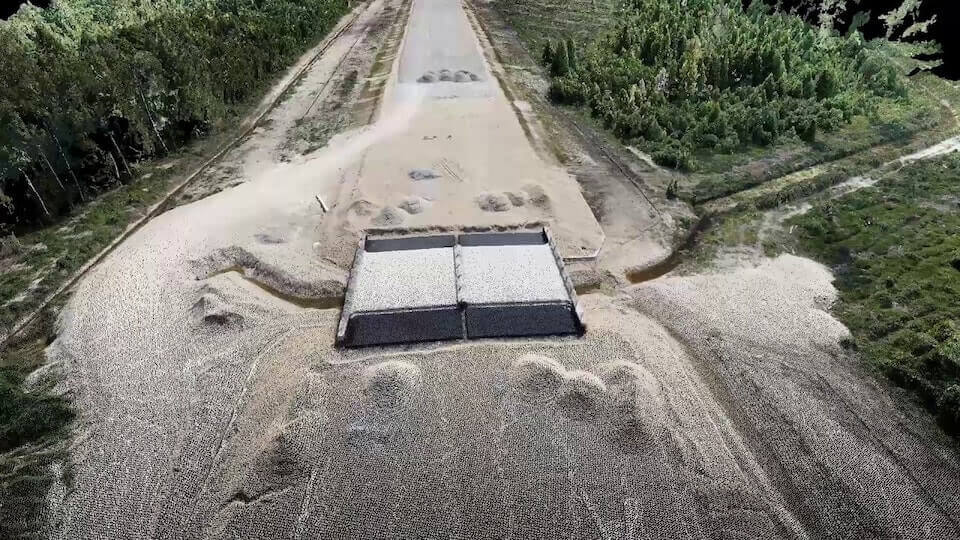 Point cloud of a highway construction from a drone survey