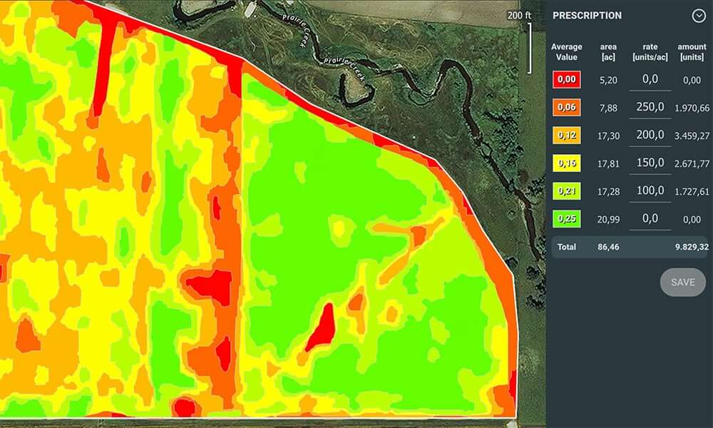 Prescription maps can also be generated for automated seeding