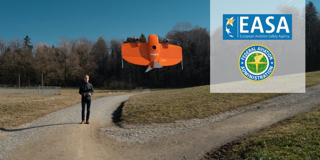 Pilot, WingtraOne drone and the FAA and EASA logos
