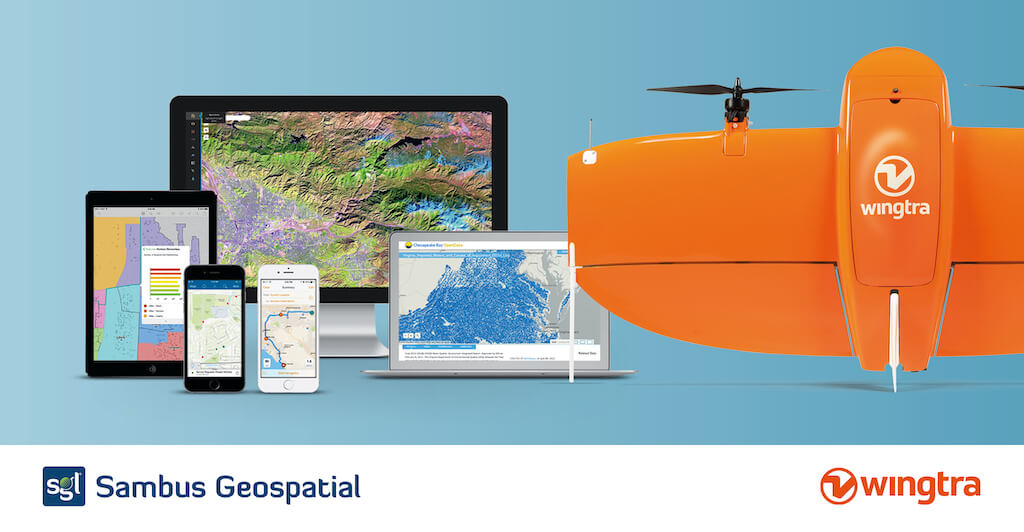 Sambus Geospatial and WingtraOne with screens featuring outputs
