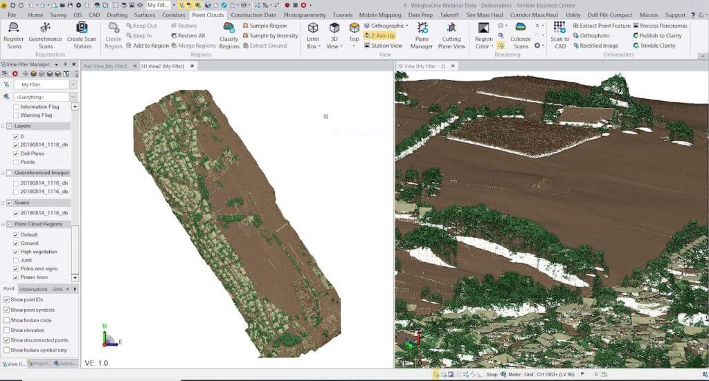 Trimble Business Center and WingtraOne drone data output on screen