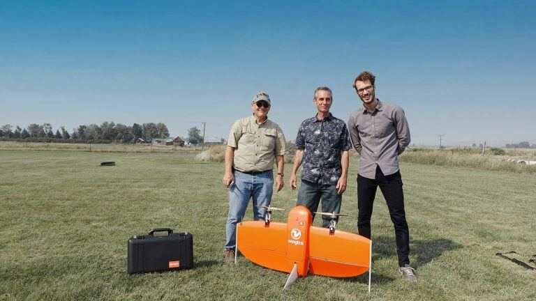 RDO employees with the professional VTOL drone WingtraOne