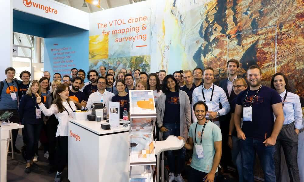 Wingtra employees at Intergeo