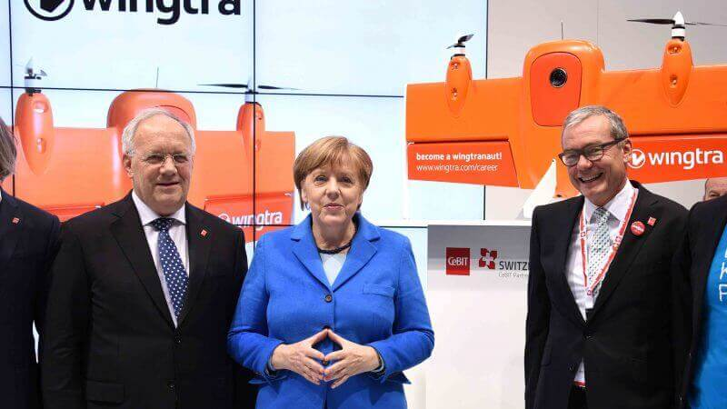Angela Merkel at Cebit with WingtraOne drone
