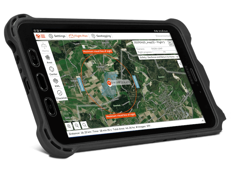 Flight planning software on a tablet